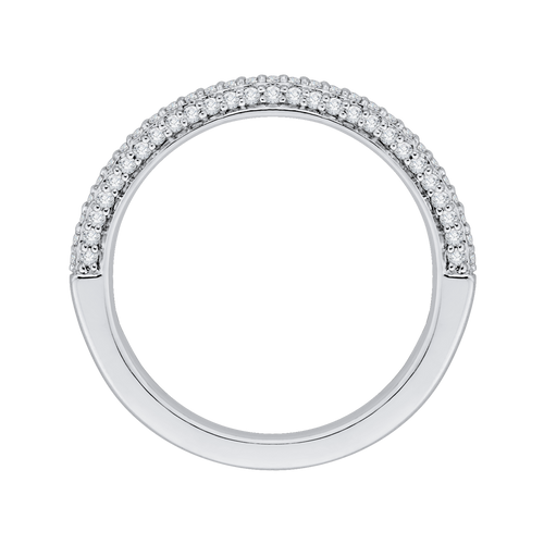 PRU0070B-44W Bridal Jewelry Carizza White Gold Round Diamond Wedding Bands