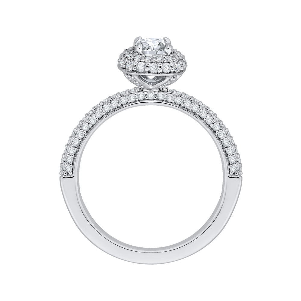 PRU0070EC-44W Bridal Jewelry Carizza White Gold Cushion Cut Diamond Double Halo Engagement Rings