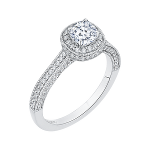 14K White Gold Cushion Diamond Halo Engagement Ring