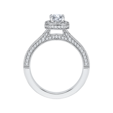 Load image into Gallery viewer, 14K White Gold Cushion Diamond Halo Engagement Ring