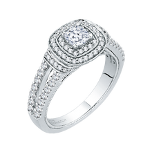 Load image into Gallery viewer, Cushion Diamond Double Halo Engagement Ring In 14K White Gold