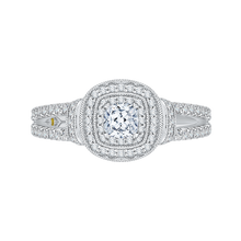 Load image into Gallery viewer, PRU0137ECH-44W-.40 Bridal Jewelry Carizza White Gold Cushion Cut Diamond Double Halo Engagement Rings