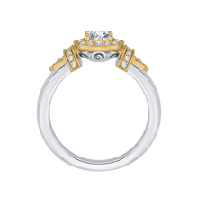 Load image into Gallery viewer, 14K Two Tone Gold Cushion Diamond Halo Engagement Ring