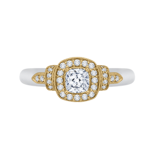 PRU0151EC-44WY-.50 Bridal Jewelry Carizza White Gold Rose Gold Yellow Gold Cushion Cut Diamond Halo Engagement Rings