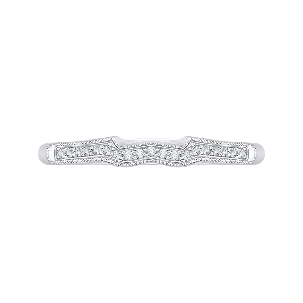 PRU0155B-44W-.50 Bridal Jewelry Carizza White Gold Round Diamond Wedding Bands