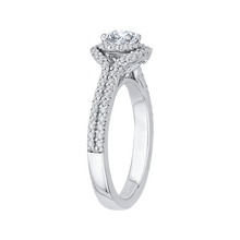 Load image into Gallery viewer, 14K White Gold Cushion Cut Diamond Double Halo Cathedral Style Engagement Ring