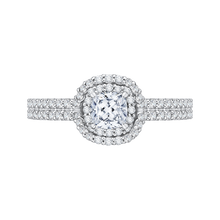 Load image into Gallery viewer, PRU0157ECH-44W-.50 Bridal Jewelry Carizza White Gold Cushion Cut Diamond Double Halo Engagement Rings