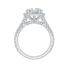 Load image into Gallery viewer, 18K White Gold Round Cut Diamond Split Shank Halo Engagement Ring (Semi-Mount)