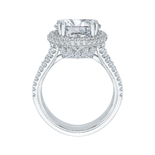 Load image into Gallery viewer, 18K White Gold Round Cut Diamond Engagement Ring (Semi-Mount)