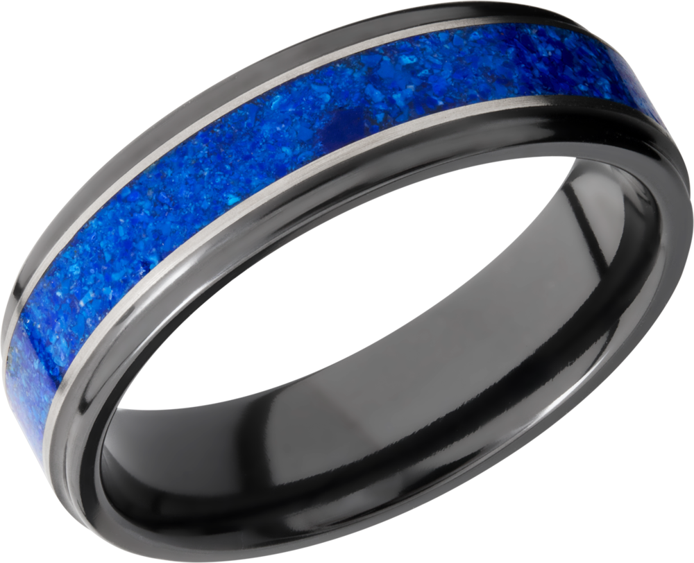lashbrook zirconium collection zirconium 6mm flat band z6fge13_lapis+silver+satin_polish