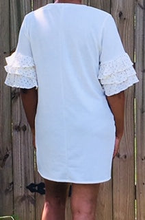 Dress with Ruffled Sleeves - Off White