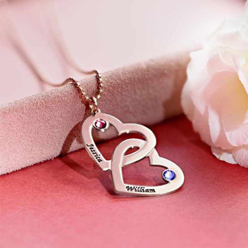 Heart in Heart Name Necklace with Birthstones