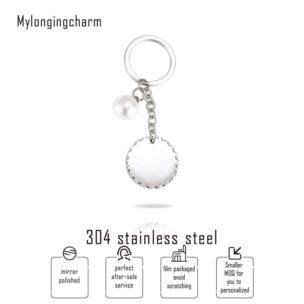Keychain With Hammered Disc Tag