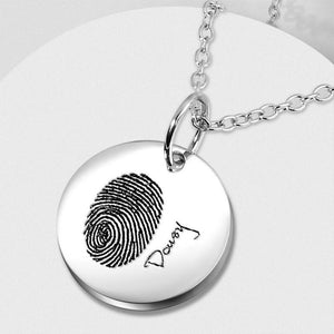 Personalized Round Photo Necklace, Handwriting and Fingerprint Necklace