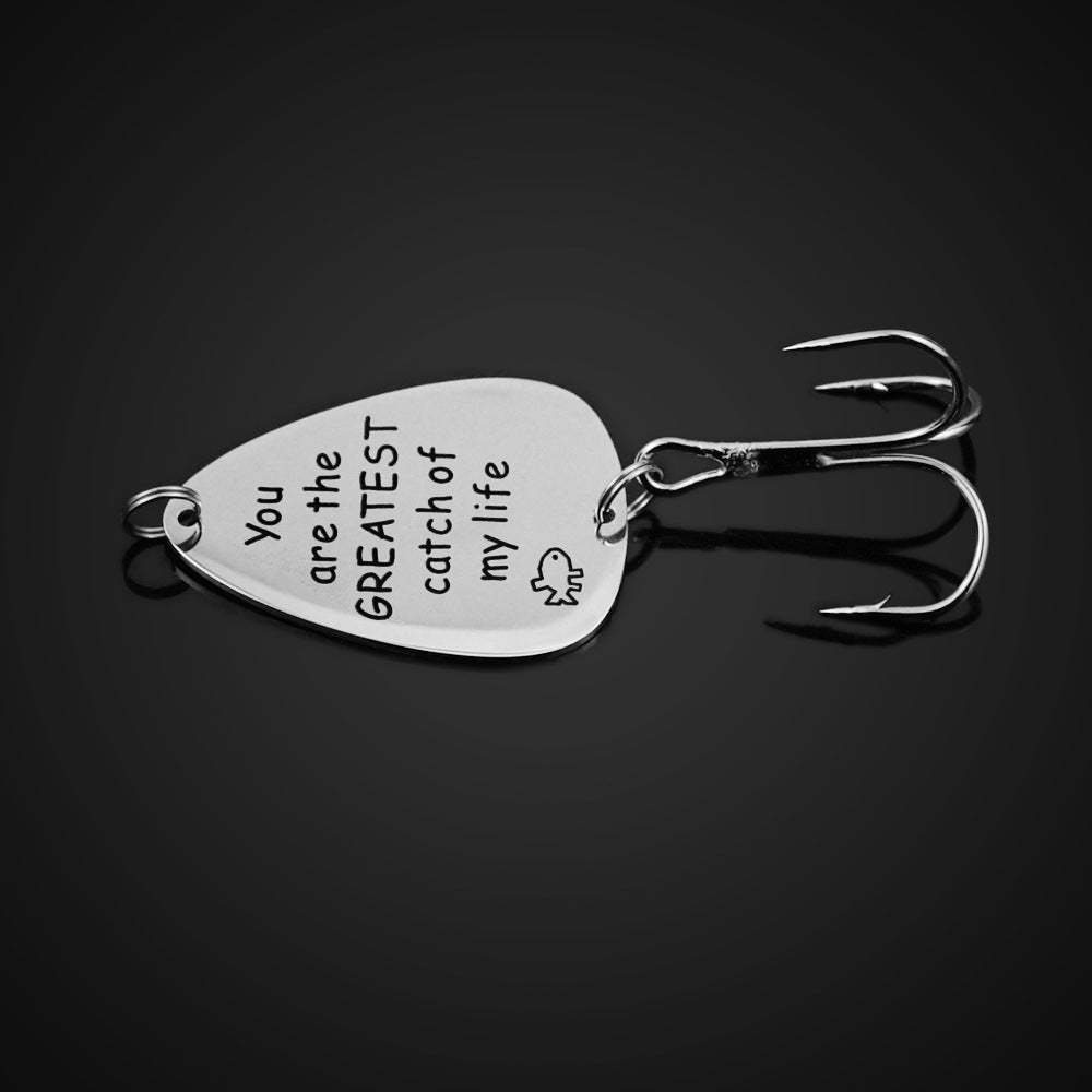 Free Engraving Fishhook Charms for Father's Day-You are the greatest catch of my life