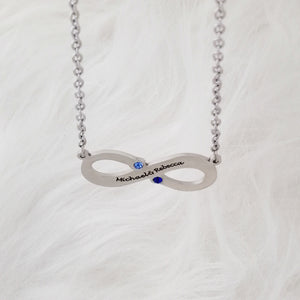 Infinity Name Necklace with Birthstones