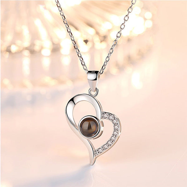 Lover Heart Photo & 100 Languages Projection Necklaces for Her