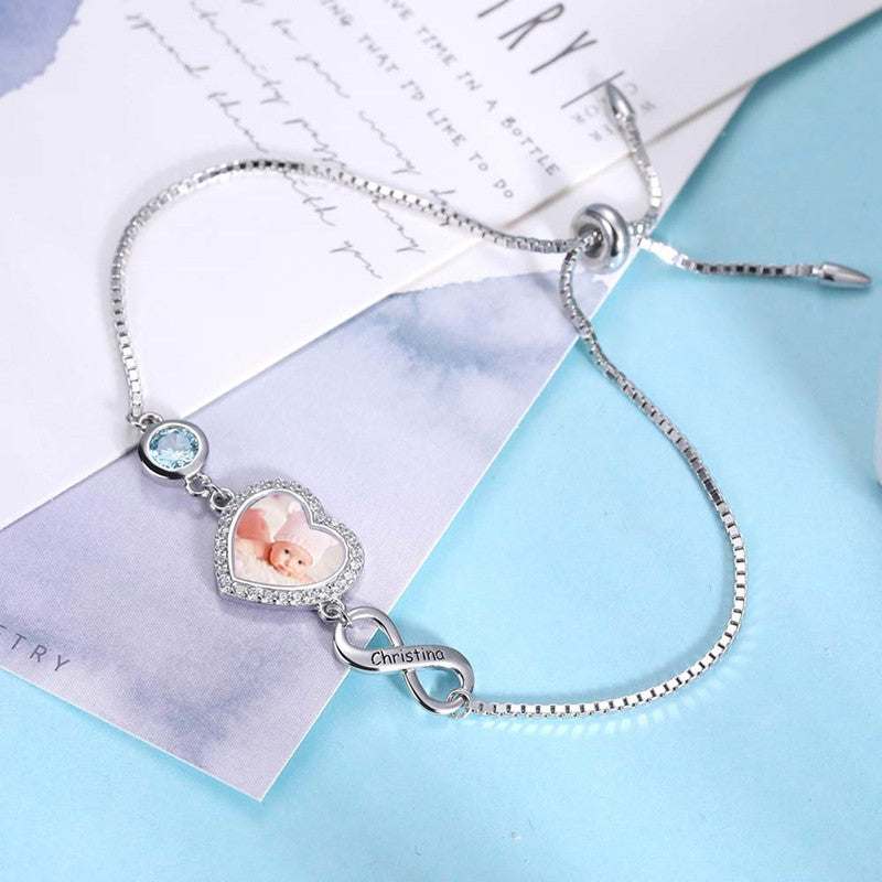Personalized Heart Photo Bracelet Sterling Silver-Single Infinity