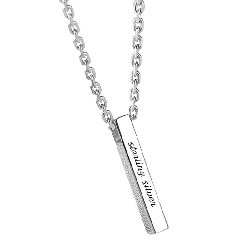 4 Sides Engraved Name Bar Necklace in Sterling Silver