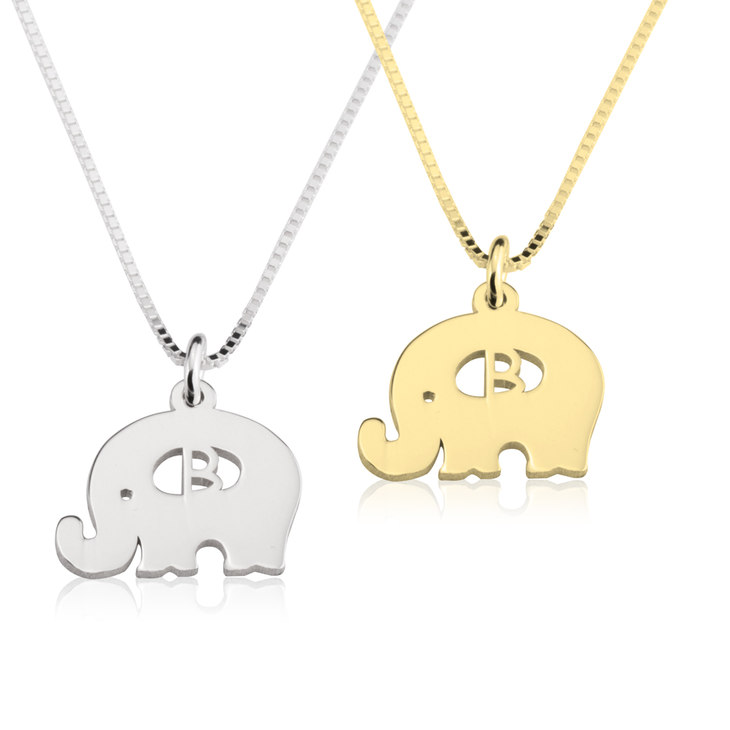 Elephant Initial Necklace