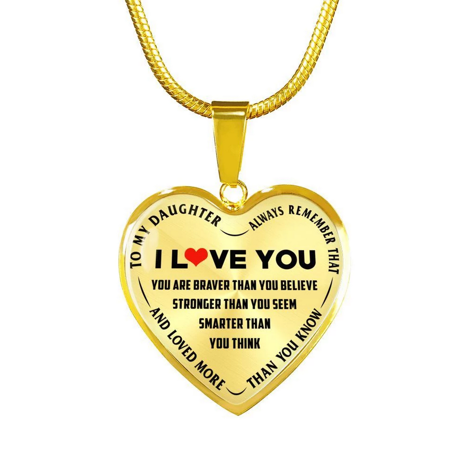 To My Daughter Heart Shaped Necklace- I Love You, more than you konw
