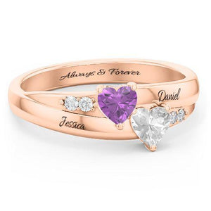 Double-Heart Birthstone Promise Ring