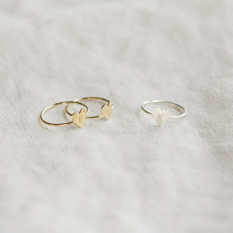 Tiny Heart Initial Ring