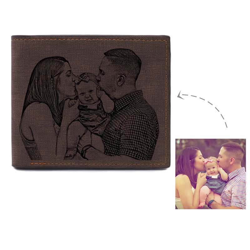 Personalized Photo Engraving Leather  Wallet In Dark Brown
