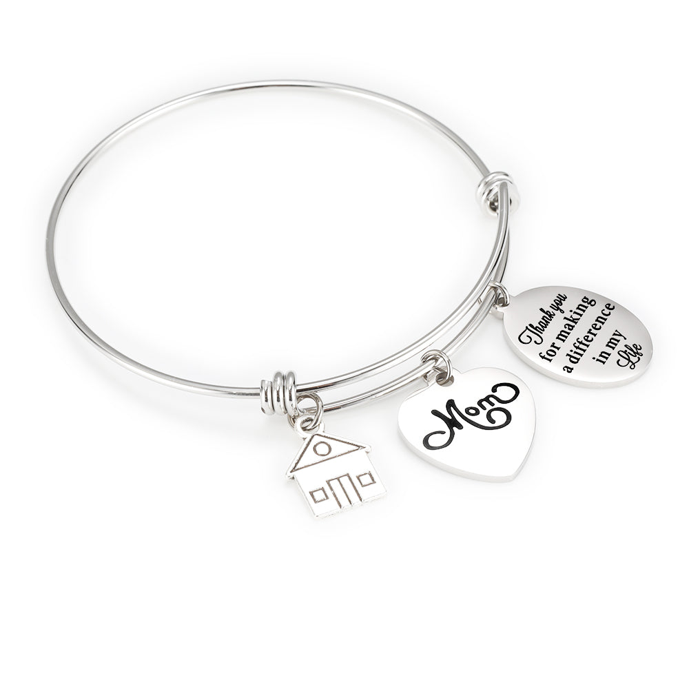 Engraved Heart And Circle Charm Bangle-Thank you for making a difference in my life