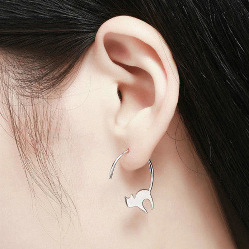 Little Cat Drop Earrings Silver
