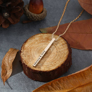4 Sides Engraved Vertical Bar Necklace