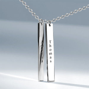 Vertical Two Bar Necklace with Engraving