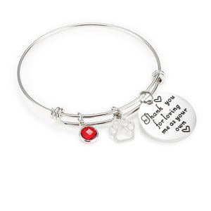 Mom Birthstone Bangle -Thank you for loving me as your own