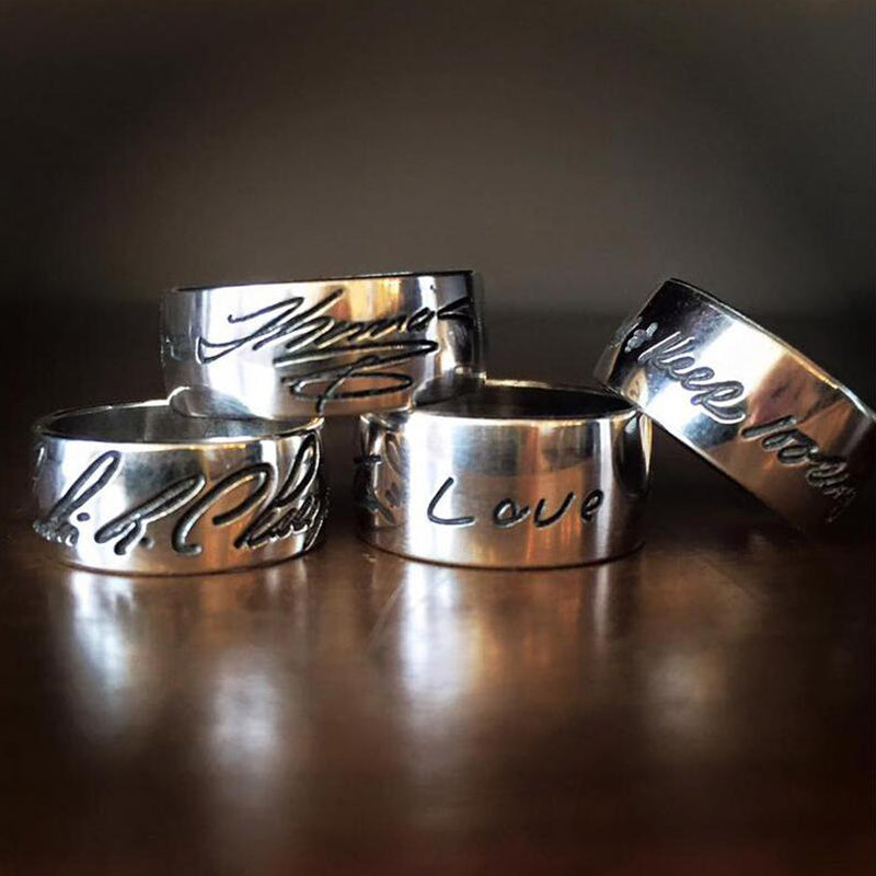 Handwritten Message Band Ring