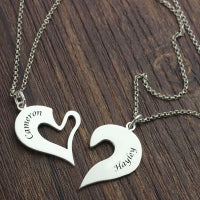 Personalized Breakable Heart Name Necklace for Couples