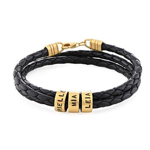 Men Braided Leather Bracelet with Small Custom Beads