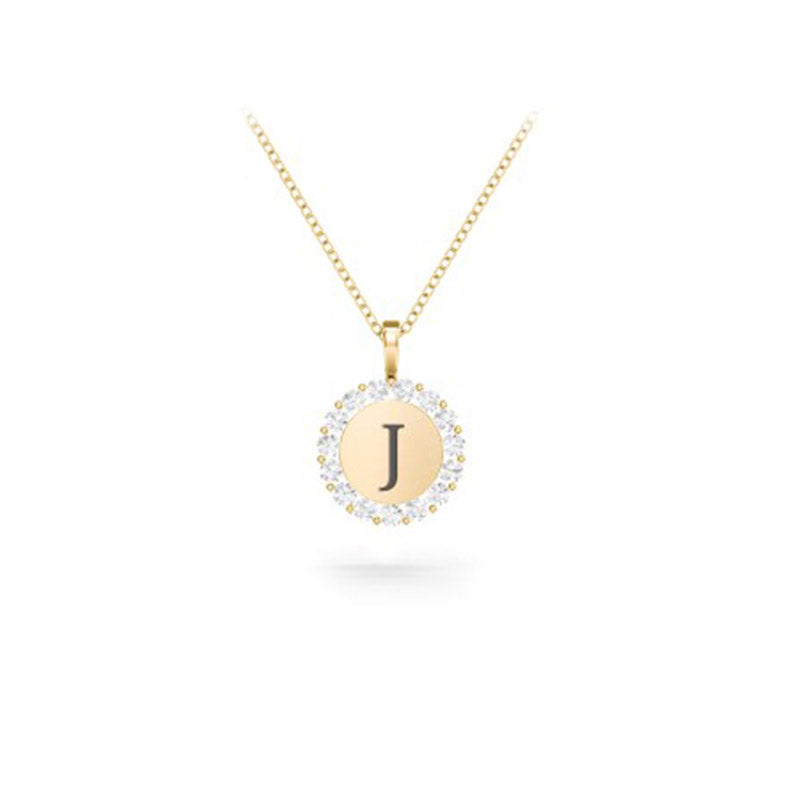 Initial Halo Disc Necklace with rhinestone
