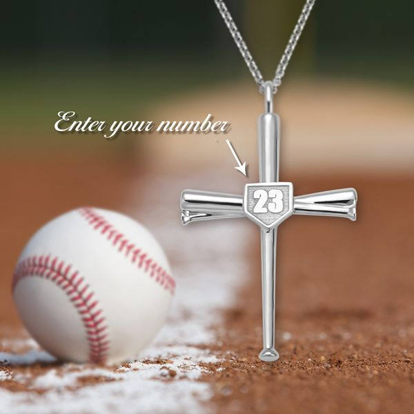 Engraved Baseball Cross Necklace