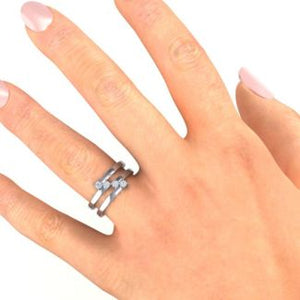 Diagonal Dazzle Ring With 4-5 Birthstones