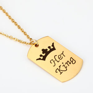 His Queen Her King Stainless steel necklace