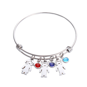 Custom Children Charm Pendant Bangle With Birthstone
