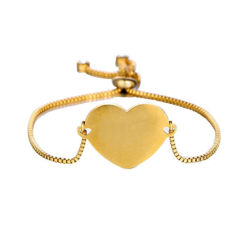 Free Engraving Heart Shape Bracelet