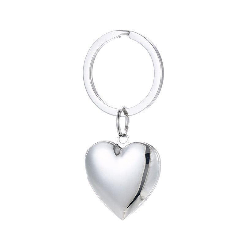 Free Engraving Personalized Heart Shaped Locket Keychain
