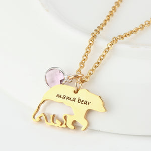Mama Bear Necklace With Birthstone For Mother's Day