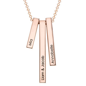 Engraved Triple 3D Vertical Bar Necklace
