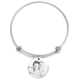 Women's Round Photo Engraved Charm Bangle Stainless Steel