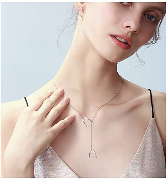 Sterling Silver plated Simple Double Horse Strirrup Lariat Necklace