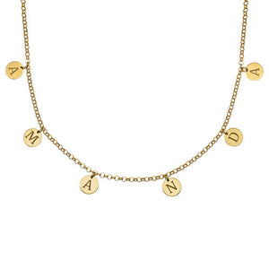 Initials Choker Necklace in 18k Gold Plating