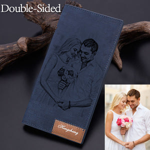 Personalized Double-Sided Photo Blue Wallet