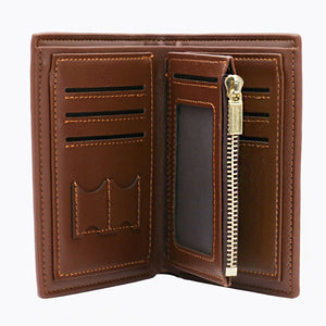 Double Sided Photo Leather Mens Trifold Vertical Wallet